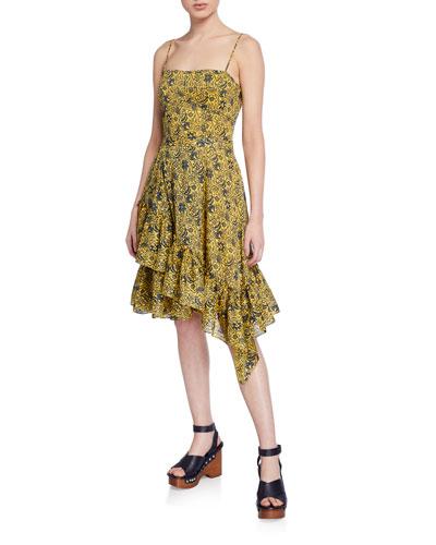 Cami Dress with Asymmetric Ruffle Hem