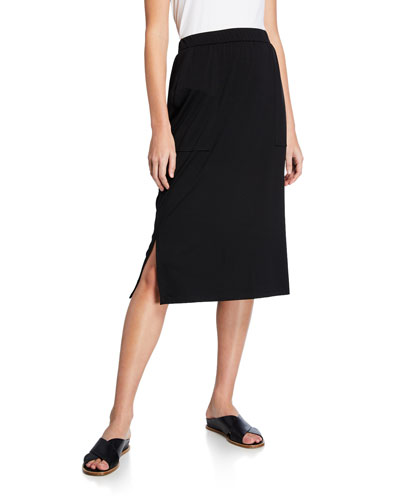 Plus Size Slim Jersey Skirt with Side Slits