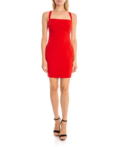 Lindi Square-Neck Short Cocktail Dress