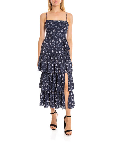 Leros Tiered Floral Square-Neck Long Dress