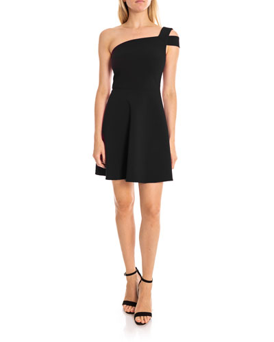 Montgomery One-Shoulder Fit-&-Flare Cocktail Dress