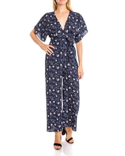 Adelaide Short-Sleeve Floral Jumpsuit