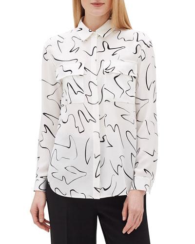 Plus Size Zora Scribble Print Long-Sleeve Silk Blouse