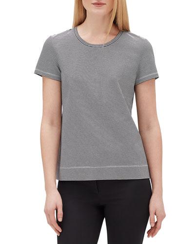 Plus Size Modern Striped Short-Sleeve Jersey Cotton Tee