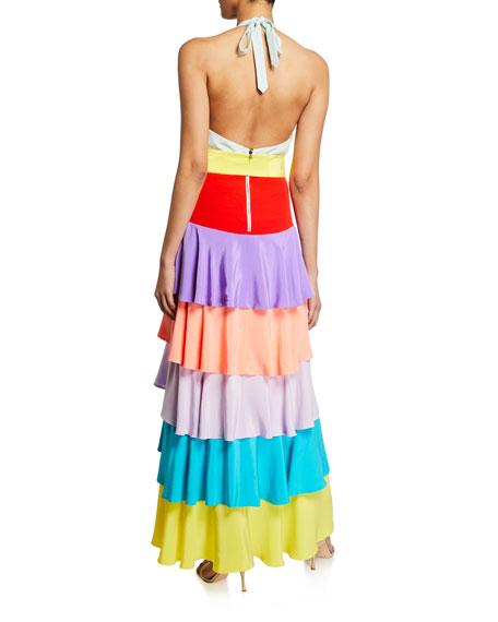 Elmira Halter-Neck Ruffle Tiered Gown