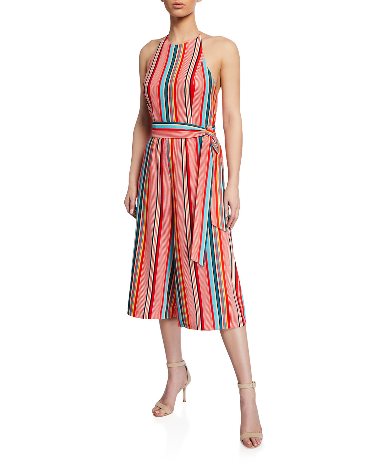 576f4b6c1f55 Alice + Olivia Lucie Striped Cropped Wide-Leg Halter Jumpsuit ...