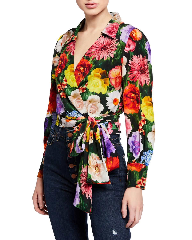 1088e8a24235f5 Alice + Olivia Omega Floral-Print Blouson-Sleeve Wrap Top