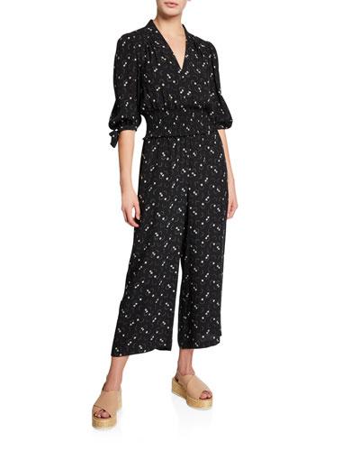 Alisia Floral-Print Blouson-Sleeve Jumpsuit