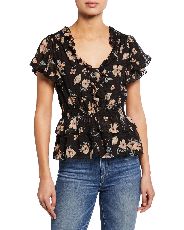 9bba7e1cdec85 Rebecca Taylor Daniella Floral-Print V-Neck Short-Sleeve Ruffle Top ...