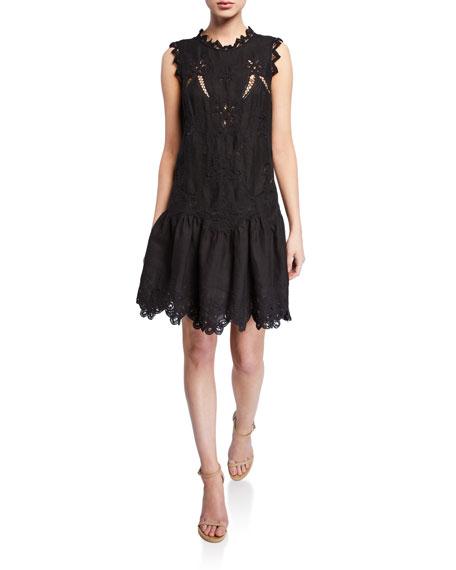 Rebecca Taylor Dresses TERRI SLEEVELESS EMBROIDERED DRESS