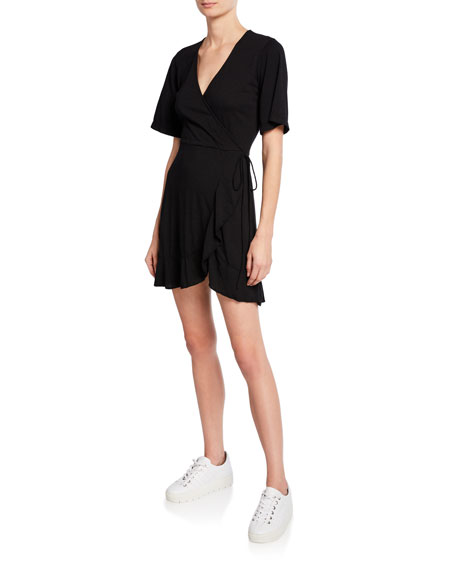Monrow Dresses SHORT-SLEEVE RUFFLE-HEM MINI WRAP DRESS