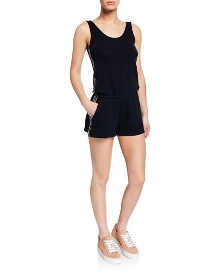Monrow Tops SCOOP-NECK TANK ROMPER W/ CONTRAST SIDE-STITCHING