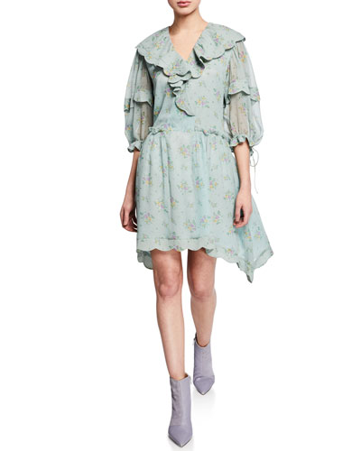 Prairie Bouquet Printed Scallop Dress