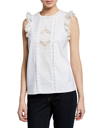 Sleeveless Cotton Ruffle Top with Studs