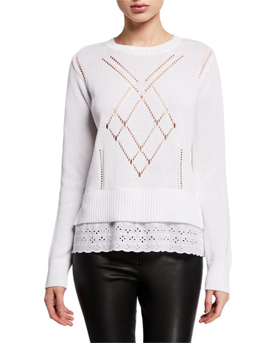 Scalloped Broderie Anglaise Sweater