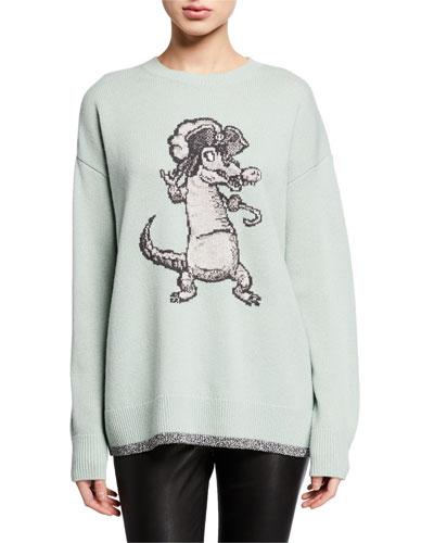 Disney X Coach Oversized Crocodile Intarsia Sweater