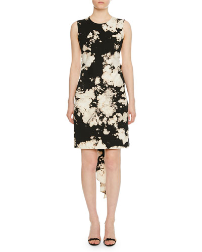Patterned Bow-Tie Open-Back Cocktail  Dress