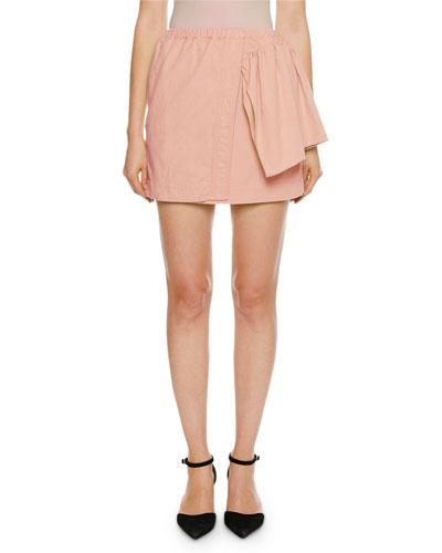 Faux-Wrap Mini Ruffle-Side Skirt