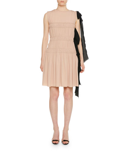 Smocked Pleated Dress w/ Side Ribbon