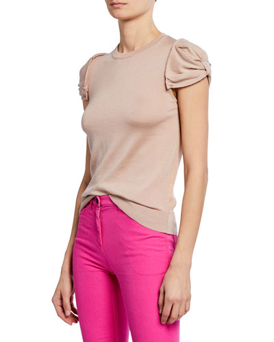 Crewneck Ruched-Sleeve Shirt