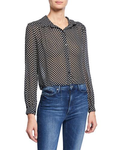 60s Polka-Dot Collared Cropped Silk Blouse