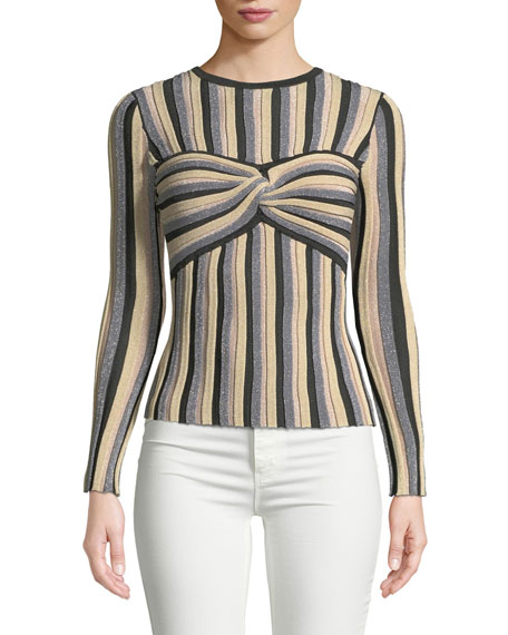 Tabula Rasa Millais Striped Metallic Twist-Front Cutout Top
