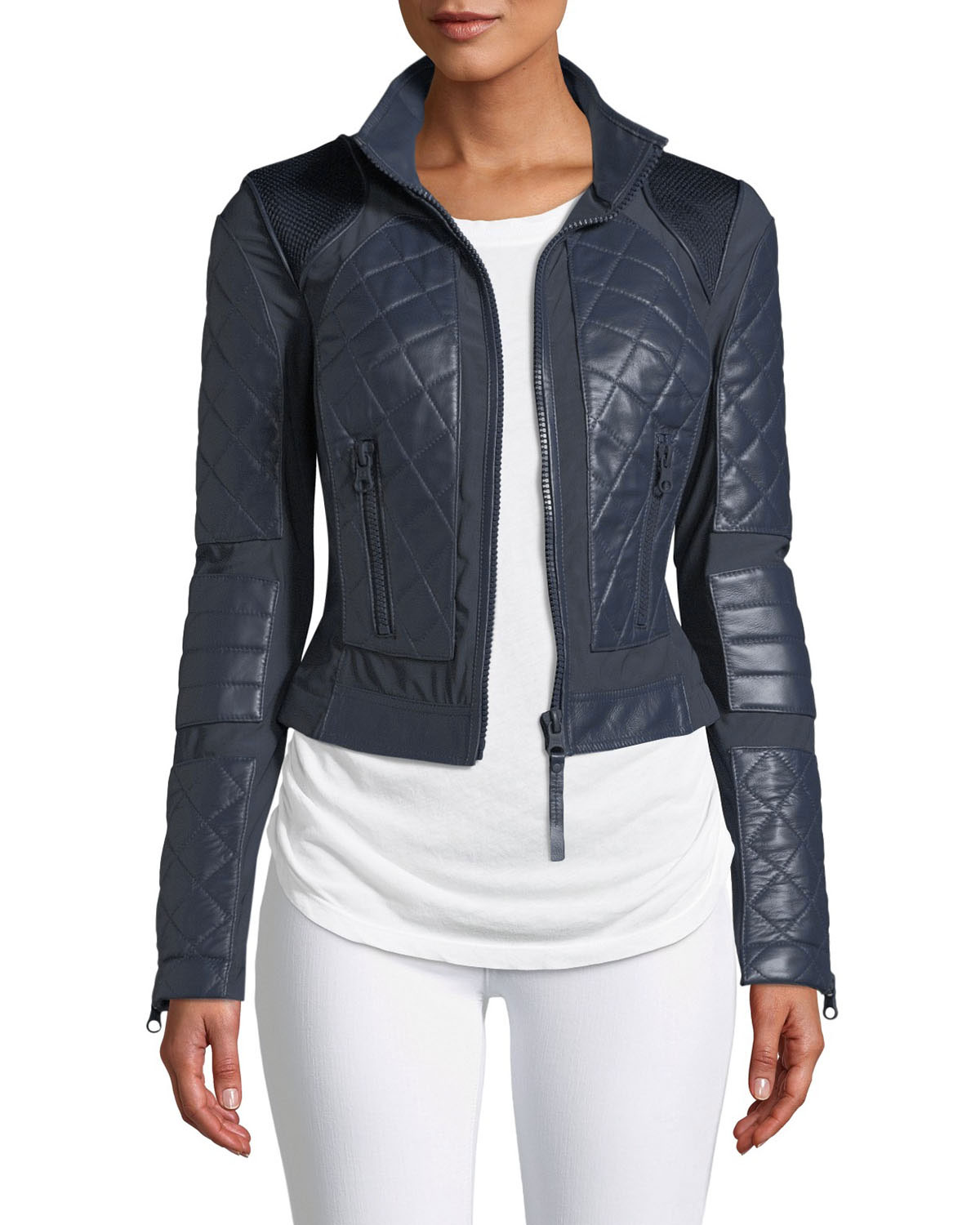 6328844d15cf Blanc Noir Quilted Leather   Mesh Moto Jacket