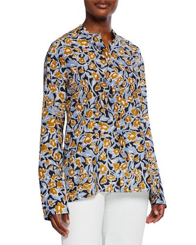 Tara Floral-Print Silk Shirt