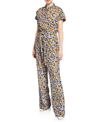 Oari Short-Sleeve Silk Jumpsuit