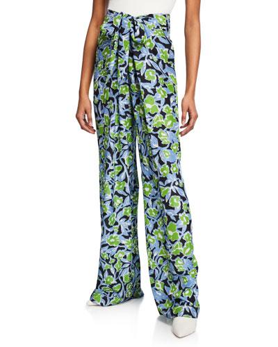 Pari Floral-Print Wide Leg Pants