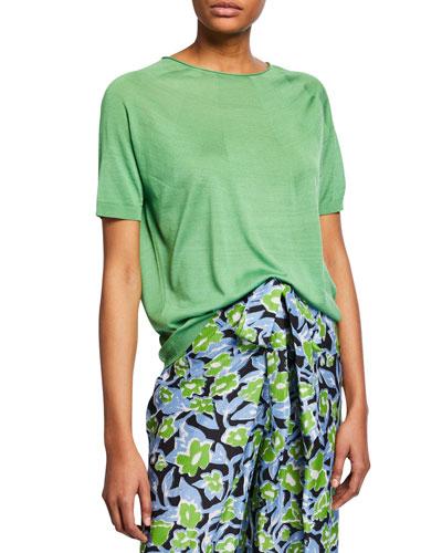 Kyoko Silk Round-Knit Crewneck Tee  Green