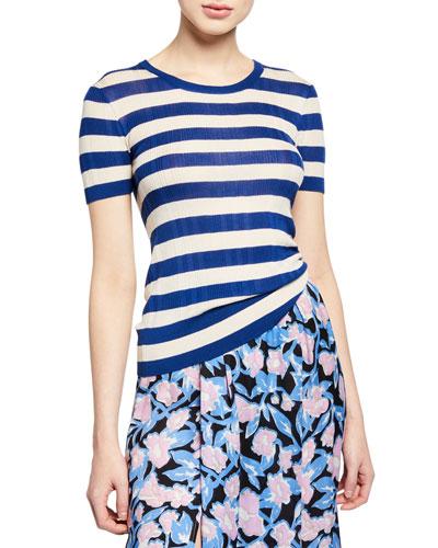 Kaz Striped Short-Sleeve Ribbed T-Shirt