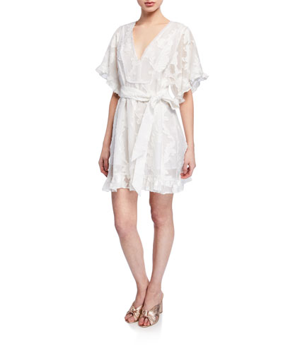 Gabriela Lace Flutter-Sleeve Dress