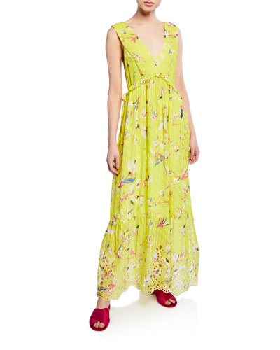 Catalina Floral-Print V-Neck Sleeveless Maxi Dress