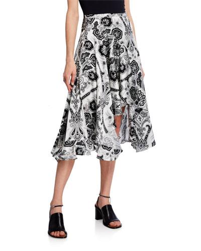 Flounce Paisley Silk Midi Skirt