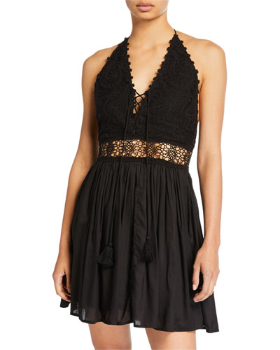 Valentina Lace Cold-Shoulder Coverup Dress