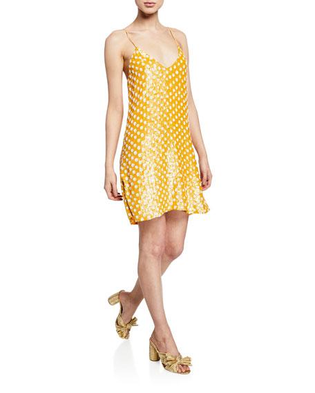 In Caroline Polka Yellowwhite Sequined Dot Elena Slip Constas Dress ppqrEw0