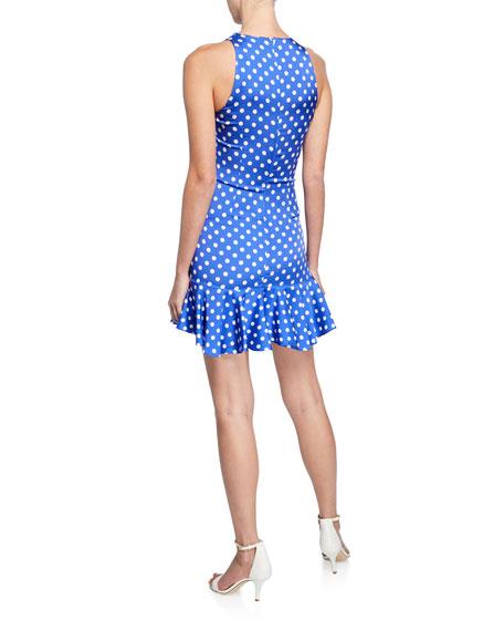Caroline Constas Audrina Polka-Dot Sleeveless Mini Flounce Dress