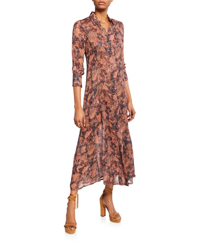 Maddie Printed 3/4-Sleeve Shirt Dress