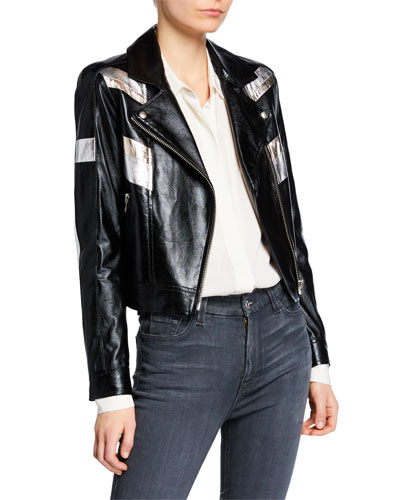 Izquier Metallic Stripe Leather Moto Jacket