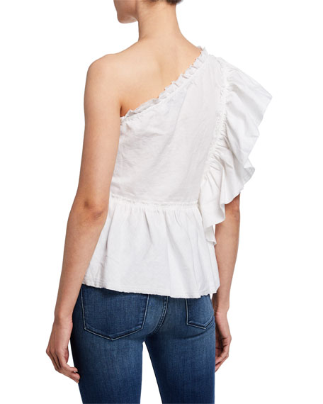 f257fc0e5aaa5 Image 2 of 2  Plum One-Shoulder Ruffle Top