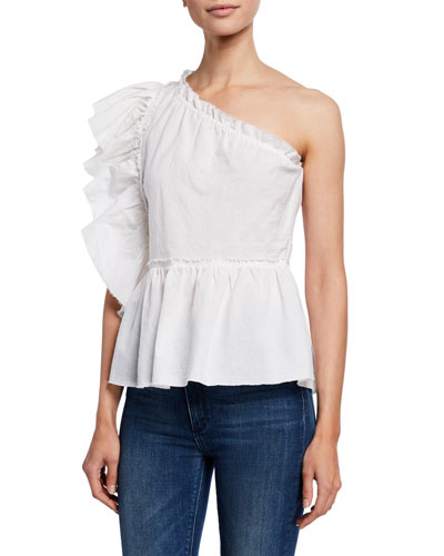 Plum One-Shoulder Ruffle Top