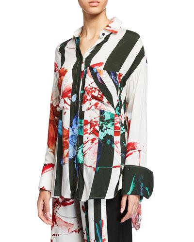 Boyfriend Striped Floral Viscose Button-Up Shirt