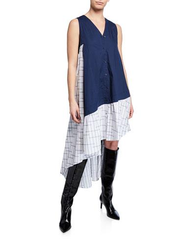 Super Sleeveless Two-Tone Asymmetrical Dress