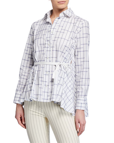 Pointed Draped-Back Printed Button-Up Shirt