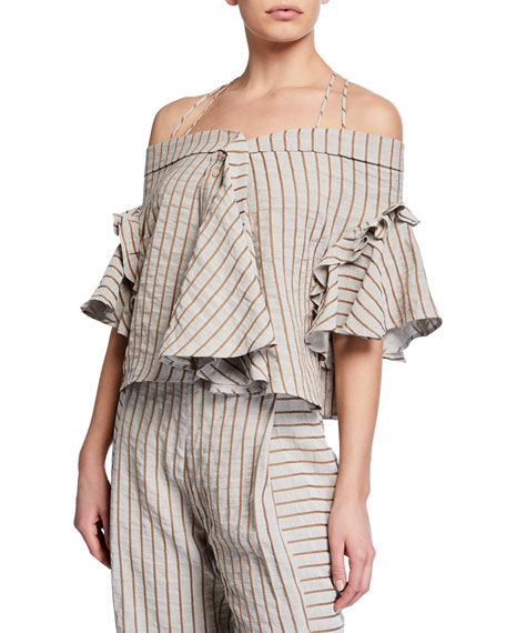 PALMER HARDING HAVEN STRIPED OFF-SHOULDER RUFFLE TOP
