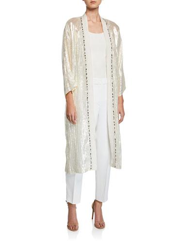 Metallic Silk Kimono Duster