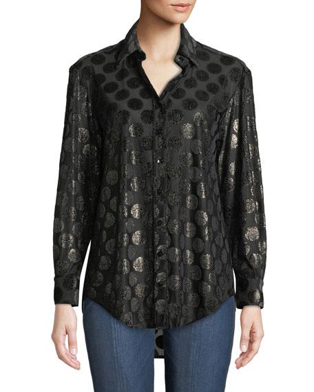 FINLEY Monica Luxe Dot Button-Down Shirt in Black