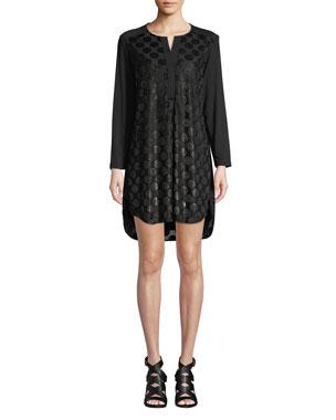 ace0b2d32fd Finley Kenzie Velvet Dot Long-Sleeve High-Low Dress