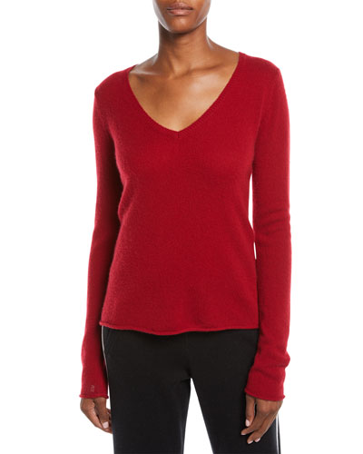 Cashmere V-Neck Long-Sleeve Sweater